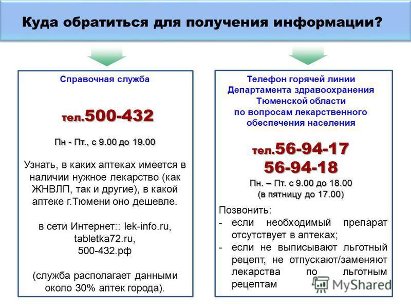 Справочная служба тел. 500-432 тел. 500-432 Пн - Пт., с 9.00 до 19.00 Узнать, в каких аптеках имеется в наличии нужное лекарство (как ЖНВЛП, так и другие), в какой аптеке г.Тюмени оно дешевле. в сети Интернет:: lek-info.ru, tabletka72.ru, 500-432. рф