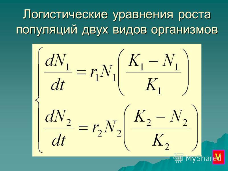 Логистические уравнения роста популяций двух видов организмов V