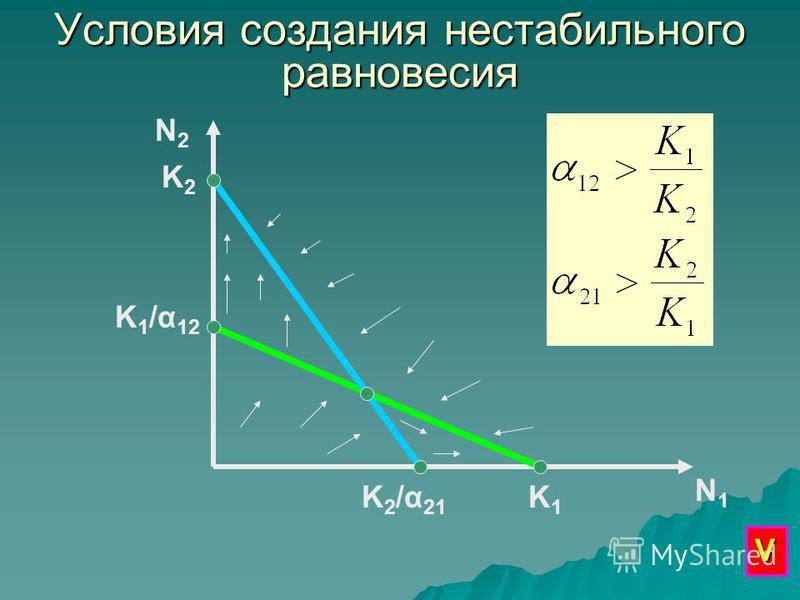 Условия создания нестабильного равновесия N2N2 N1N1 K1K1 K 1 /α 12 K2K2 K2/α21K2/α21 V