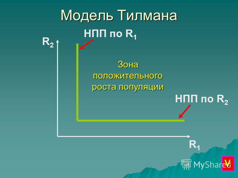 Модель Тилмана R2R2 R1R1 НПП по R 1 НПП по R 2 Зона положительного роста популяции V
