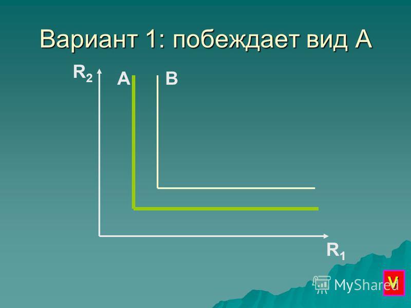 Вариант 1: побеждает вид А R2R2 R1R1 АВ V