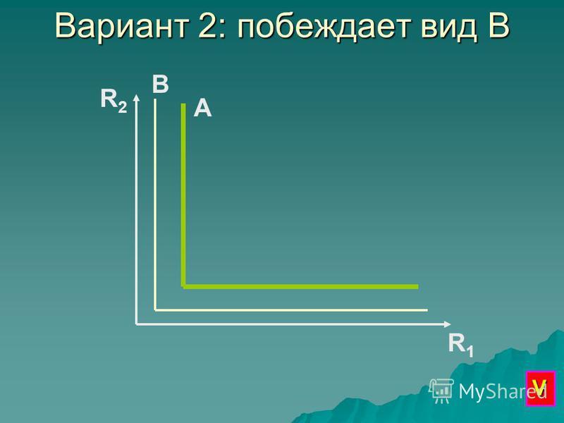 Вариант 2: побеждает вид В R2R2 R1R1 А В V