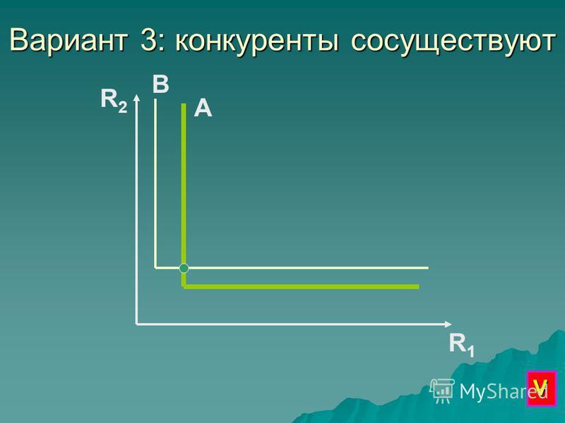 Вариант 3: конкуренты сосуществуют R2R2 R1R1 А В V