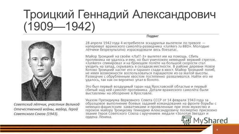 Троицкий Геннадий Александрович (19091942) Подвиг 28 апреля 1942 года 4 истребителя эскадрильи вылетели по тревоге наперехват вражеского самолёта-разведчика «Junkers Ju 88D». Молодые лётчики безрезультатно израсходовали весь боезапас. Майор Троицкий