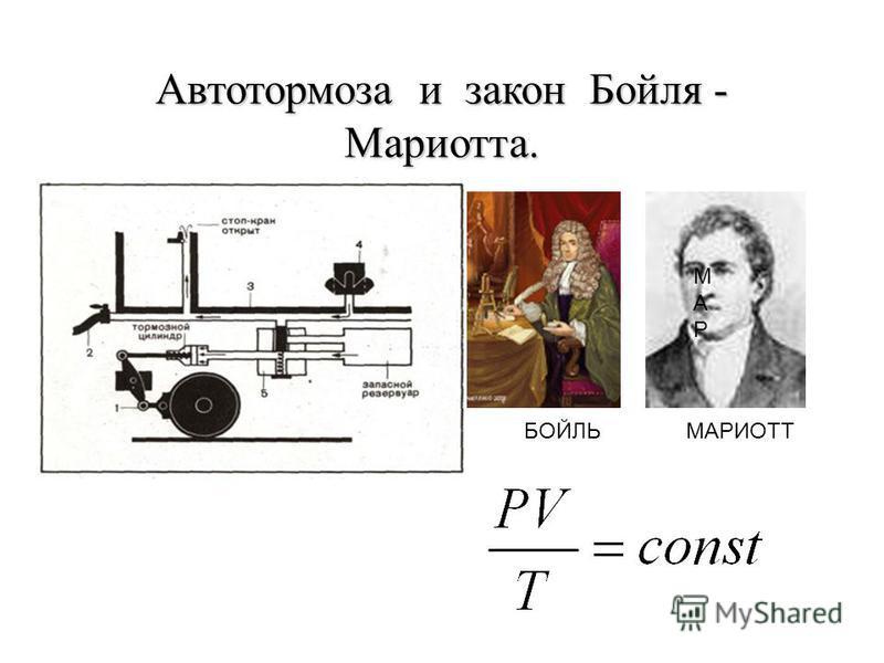 Автотормоза и закон Бойля - Мариотта. БОЙЛЬ МАРМАР МАРИОТТ