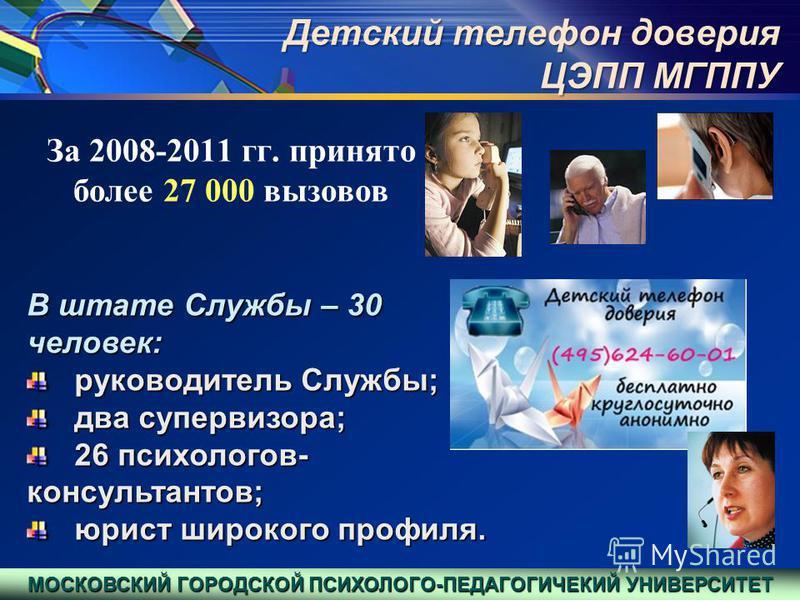 За 2008-2011 гг. принято более 27 000 вызовов В штате Службы – 30 человек: руководитель Службы; руководитель Службы; два супервизора; два супервизора; 26 психологов- консультантов; 26 психологов- консультантов; юрист широкого профиля. юрист широкого
