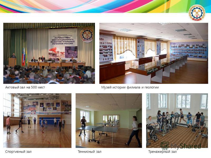 Актовый зал на 500 мест Музей истории филиала и геологии Спортивный зал Теннисный зал Тренажерный зал
