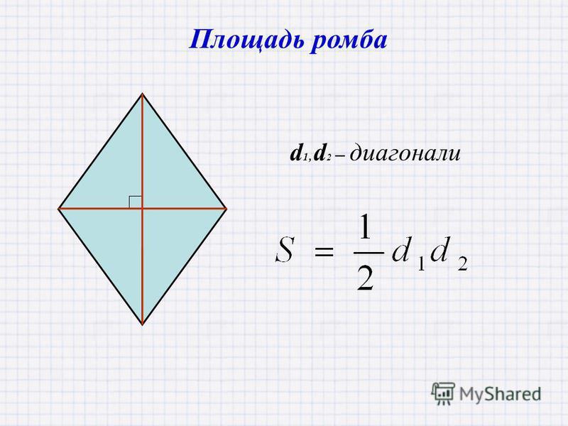 d 1, d 2 – диагонали Площадь ромба