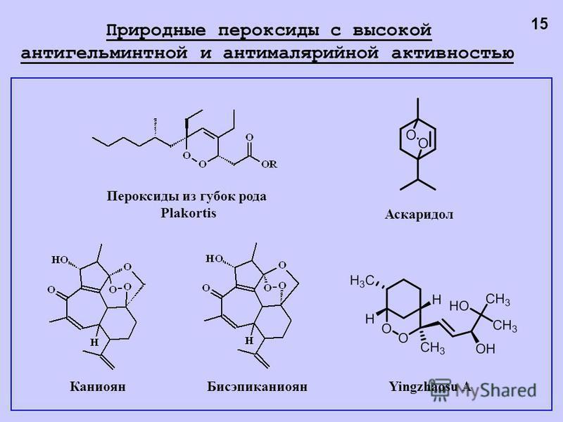 Каниоян Бисэпиканиоян Пероксиды из губок рода Plakortis Yingzhaosu A Аскаридол 15 Природные пероксиды с высокой антигельминтной и антималярийной активностью