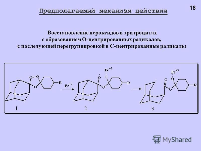 Восстановление пероксидов в эритроцитах с образованием O-центрированных радикалов, с последующей перегруппировкой в С-центрированные радикалы 18 Предполагаемый механизм действия