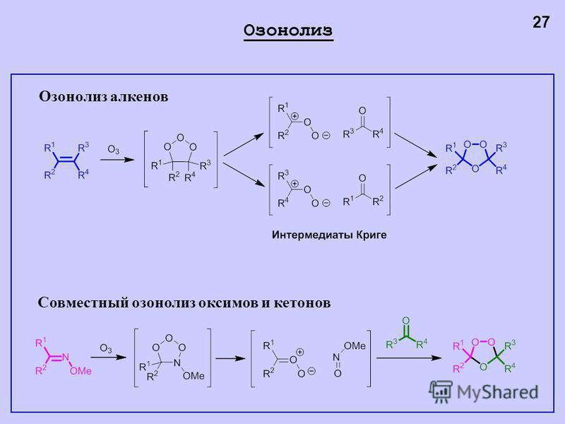 Озонолиз 27 Озонолиз алкенов Совместный озонолиз оксимов и кетонов