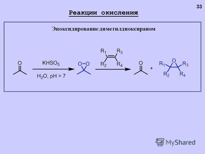 Эпоксидирование диметилдиоксираном 33