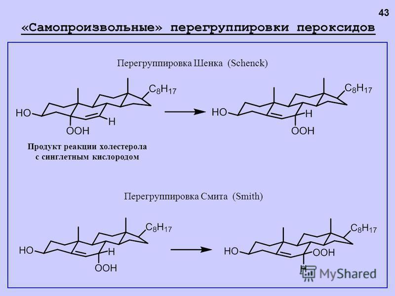 Перегруппировка Шенка (Schenck) Перегруппировка Смита (Smith) «Самопроизвольные» перегруппировки пероксидов Продукт реакции холестерола с синглетным кислородом 43