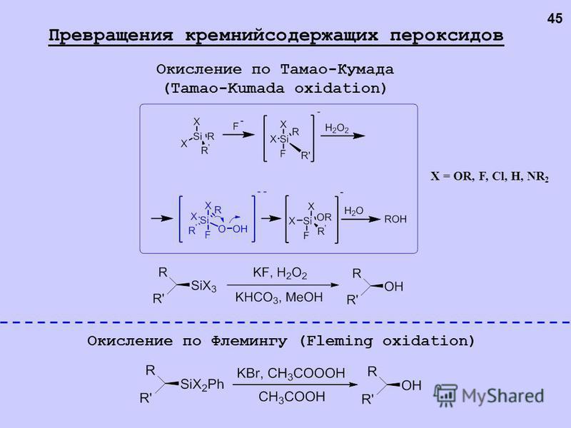 Окисление по Тамао-Кумада (Tamao-Kumada oxidation) X = OR, F, Cl, H, NR 2 Окисление по Флемингу (Fleming oxidation) Превращения кремнийсодержащих пероксидов 45