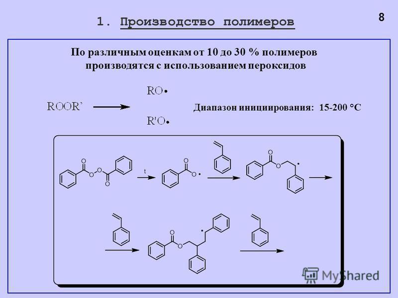 1. Производство полимеров Диапазон инициирования: 15-200 °С 8 По различным оценкам от 10 до 30 % полимеров производятся с использованием пероксидов