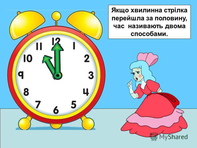 Якщо хвилинна стрілка перейшла за половину, час називають двома способами.