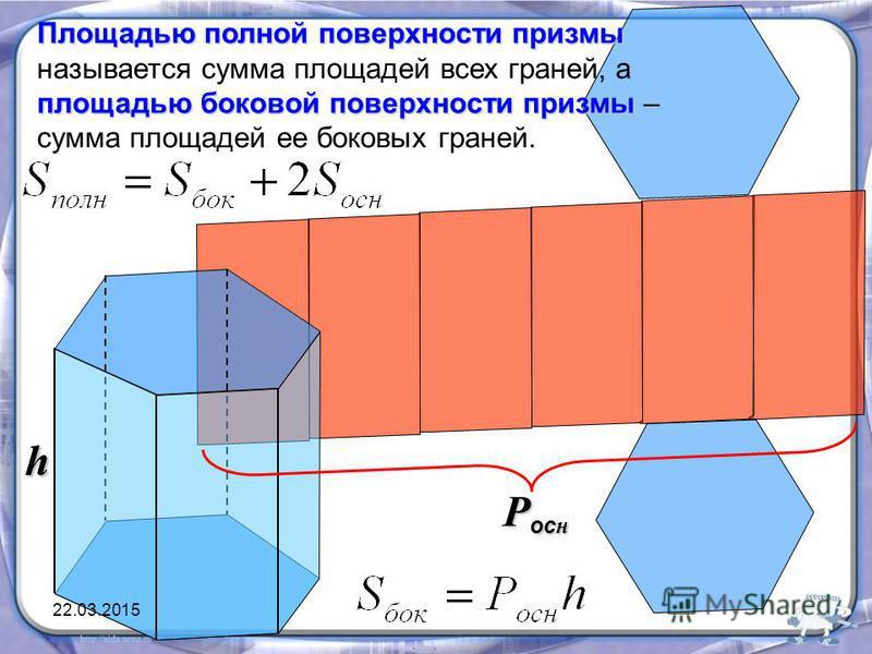 Площадью полной поверхности призмы площадью боковой поверхности призмы Площадью полной поверхности призмы называется сумма площадей всех граней, а площадью боковой поверхности призмы – сумма площадей ее боковых граней. hh P oc н 22.03.2015