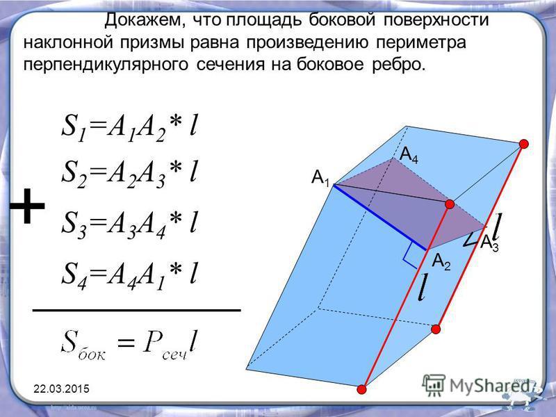Докажем, что площадь боковой поверхности наклонной призмы равна произведению периметра перпендикулярного сечения на боковое ребро. A1A1 A2A2 A3A3 A4A4 S 1 =A 1 A 2 * l S 2 =A 2 A 3 * l S 3 =A 3 A 4 * l S 4 =A 4 A 1 * l + 22.03.2015