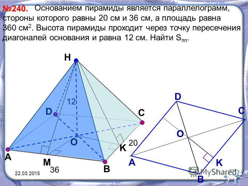 Основанием пирамиды является парольлелограмм, стороны которого равны 20 см и 36 см, а площадь равна 360 см 2. Высота пирамиды проходит через точку пересечения диагоналей основания и равна 12 см. Найти S пп. D Н O А B 240. K С М А D С В О K 20 36 12 2
