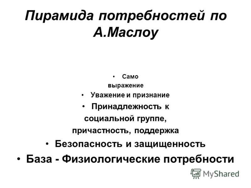 Пирамида потребностей по А.Маслоу Само выражение Уважение и признание Принадлежность к социальной группе, причастность, поддержка Безопасность и защищенность База - Физиологические потребности