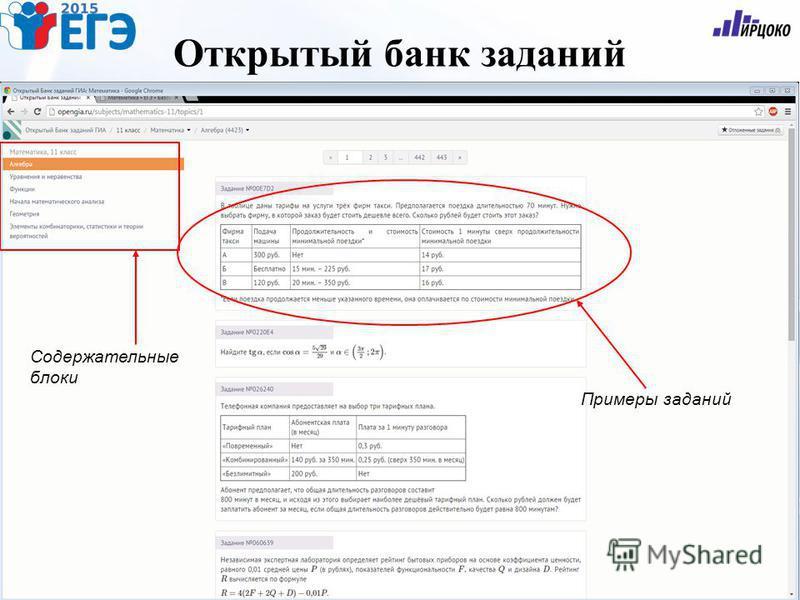 Открытый банк заданий Содержательные блоки Примеры заданий