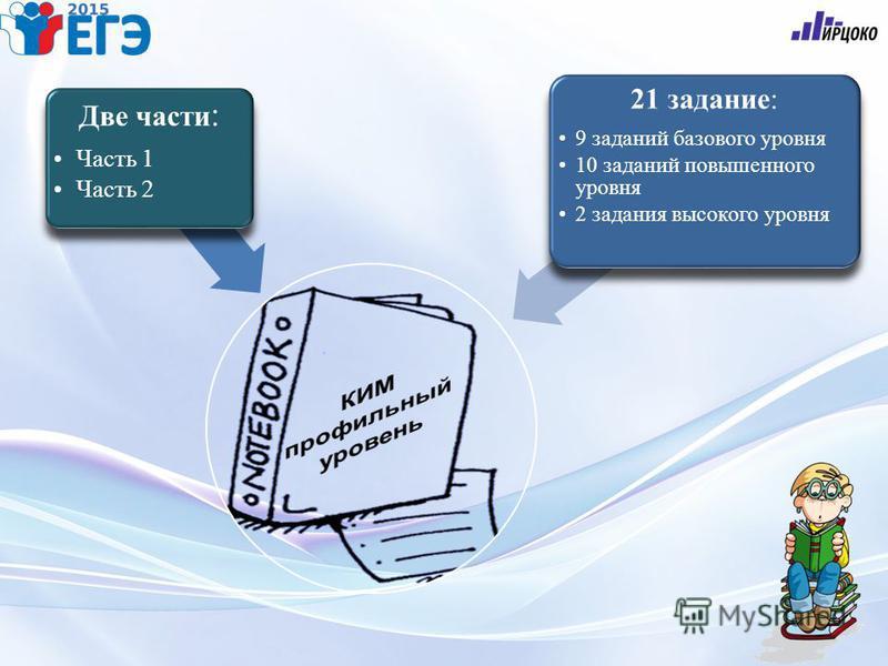 Две части : Часть 1 Часть 2 21 задание: 9 заданий базового уровня 10 заданий повышенного уровня 2 задания высокого уровня