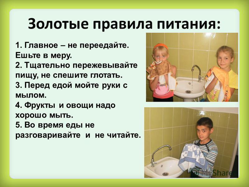 Золотые правила питания: 1. Главное – не переедайте. Ешьте в меру. 2. Тщательно пережевывайте пищу, не спешите глотать. 3. Перед едой мойте руки с мылом. 4. Фрукты и овощи надо хорошо мыть. 5. Во время еды не разговаривайте и не читайте.