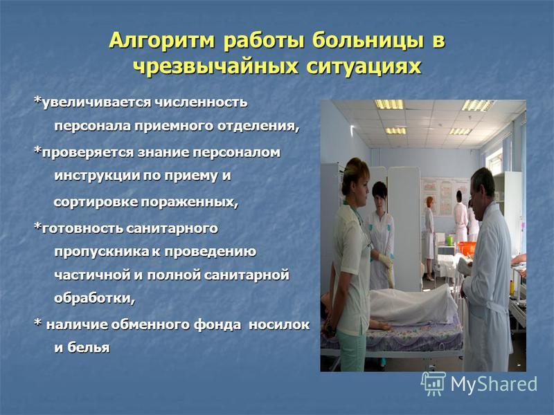 Алгоритм работы больницы в чрезвычайных ситуациях *увеличивается численность персонала приемного отделения, *проверяется знание персоналом инструкции по приему и сортировке пораженных, сортировке пораженных, *готовность санитарного пропускника к пров