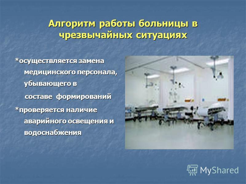 Алгоритм работы больницы в чрезвычайных ситуациях *осуществляется замена медицинского персонала, убывающего в составе формирований составе формирований *проверяется наличие аварийного освещения и водоснабжения