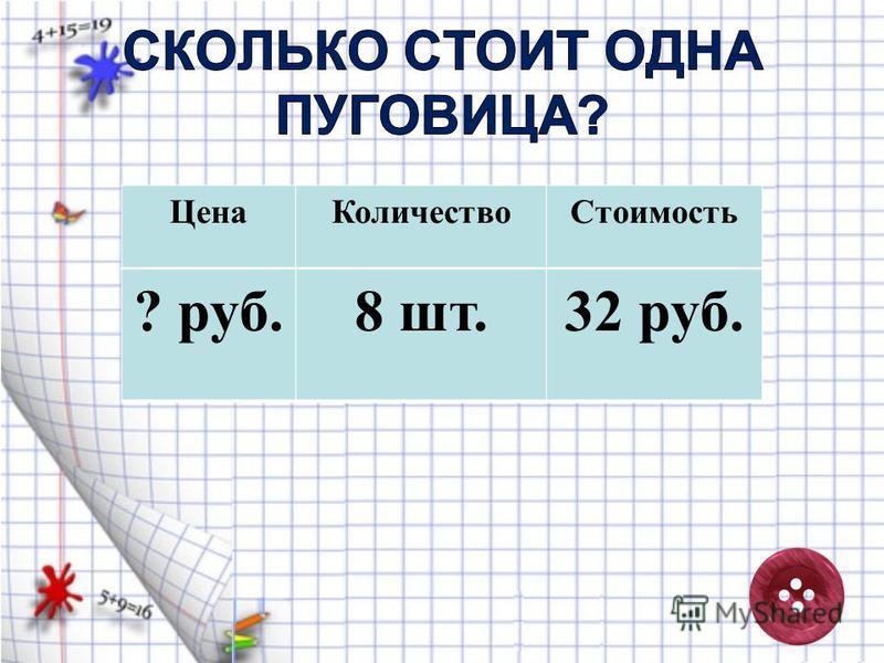 Цена КоличествоСтоимость 32 руб.8 шт.? руб.