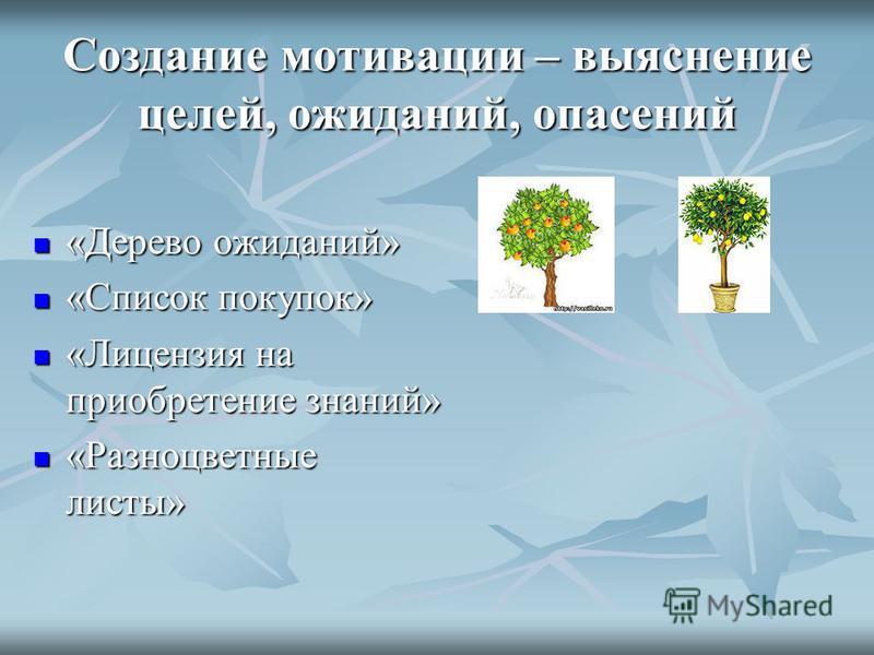 Создание мотивации – выяснение целей, ожиданий, опасений «Дерево ожиданий» «Дерево ожиданий» «Список покупок» «Список покупок» «Лицензия на приобретение знаний» «Лицензия на приобретение знаний» «Разноцветные листы» «Разноцветные листы»
