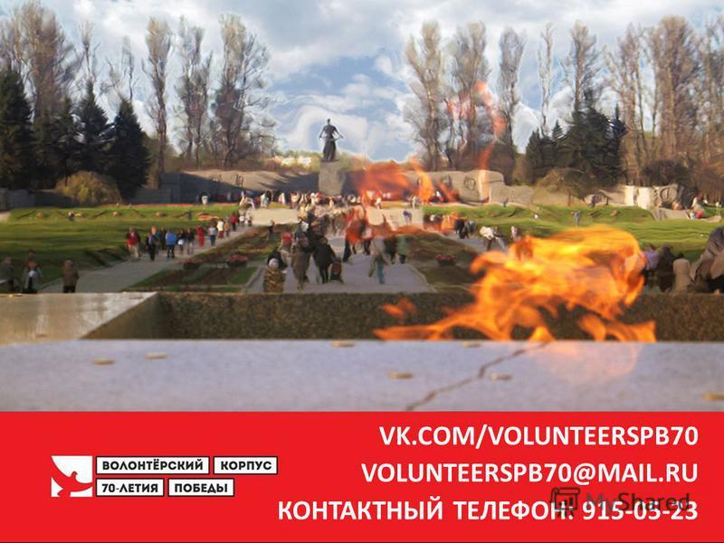 10 VK.COM/VOLUNTEERSPB70 VOLUNTEERSPB70@MAIL.RU КОНТАКТНЫЙ ТЕЛЕФОН: 915-05-23