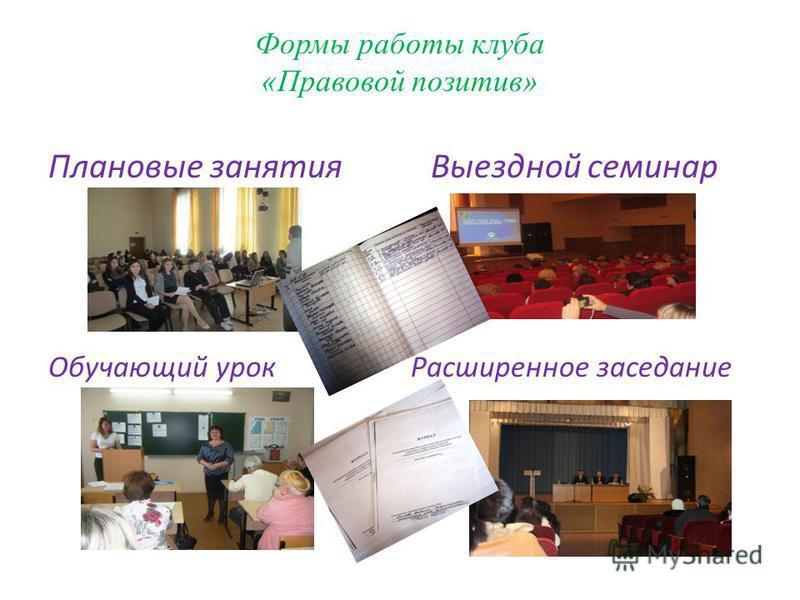 Формы работы клуба «Правовой позитив» Плановые занятия Выездной семинар Обучающий урок Расширенное заседание