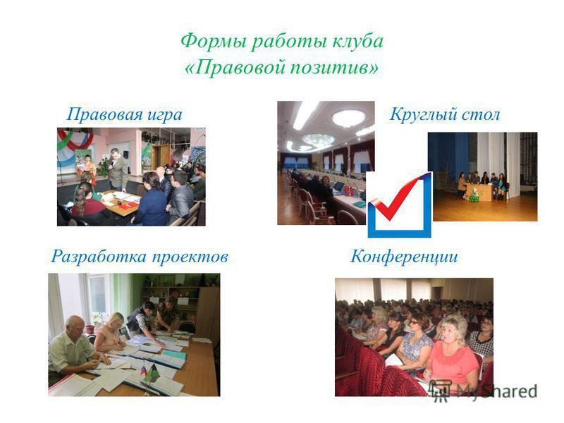 Формы работы клуба «Правовой позитив» Правовая игра Круглый стол Разработка проектов Конференции