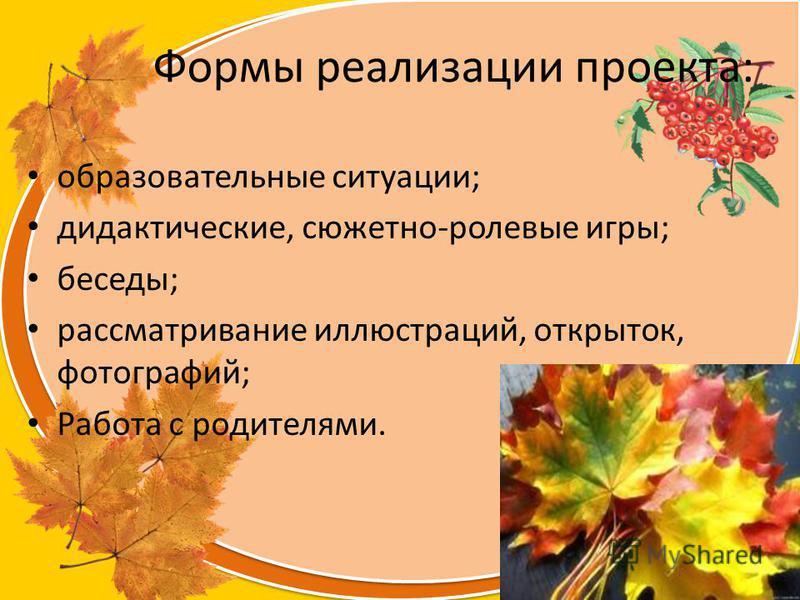 Olga73 Формы реализации проекта: образовательные ситуации; дидактические, сюжетно-ролевые игры; беседы; рассматривание иллюстраций, открыток, фотографий; Работа с родителями.