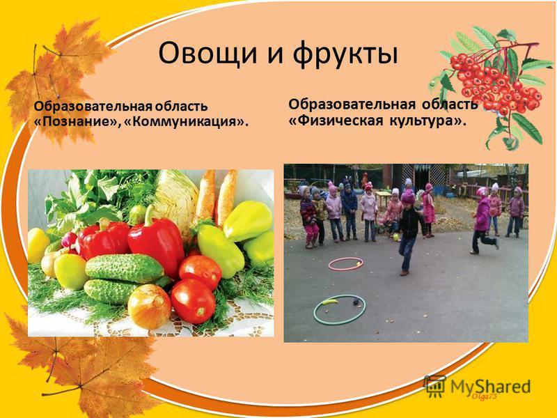 Olga73 Овощи и фрукты Образовательная область «Познание», «Коммуникация». Образовательная область «Физическая культура».