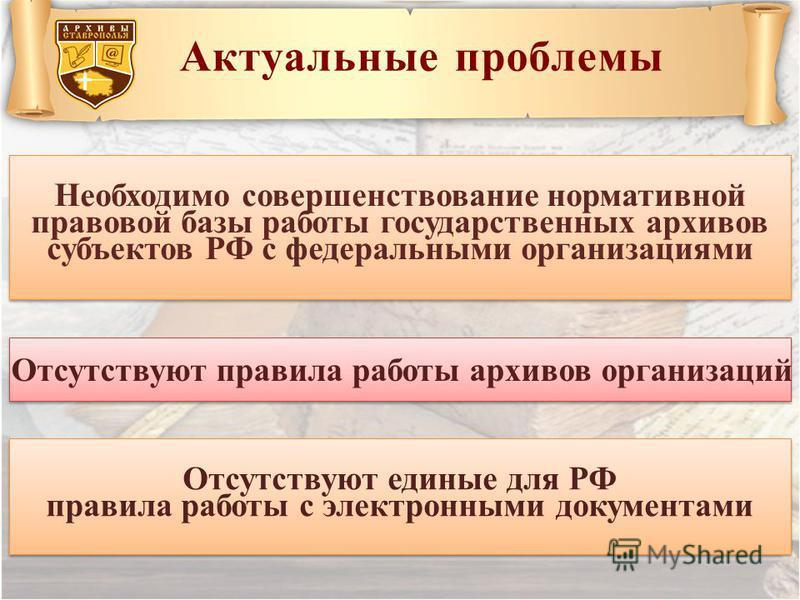 Актуальные проблемы Необходимо совершенствование нормативной правовой базы работы государственных архивов субъектов РФ с федеральными организациями Отсутствуют единые для РФ правила работы с электронными документами Отсутствуют единые для РФ правила
