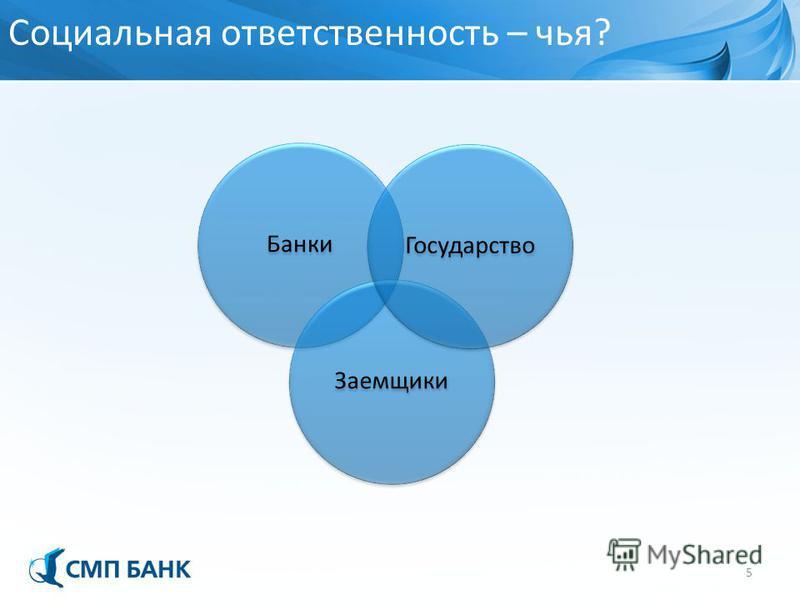 Социальная ответственность – чья? 5 Банки Заемщики Государство
