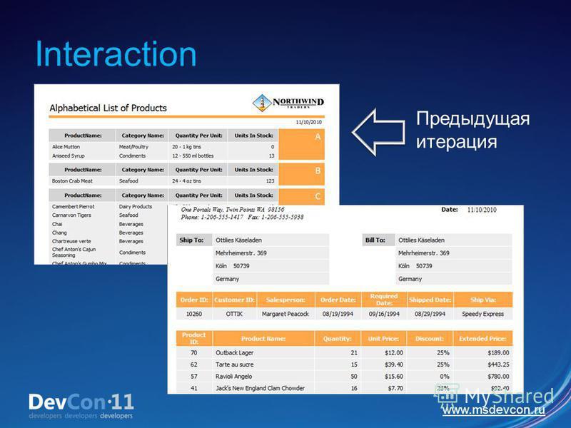 www.msdevcon.ru Interaction Предыдущая итерация