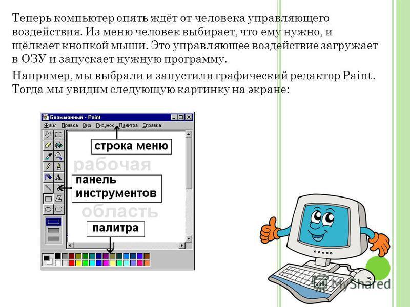 Теперь компьютер опять ждёт от человека управляющего воздействия. Из меню человек выбирает, что ему нужно, и щёлкает кнопкой мыши. Это управляющее воздействие загружает в ОЗУ и запускает нужную программу. Например, мы выбрали и запустили графический