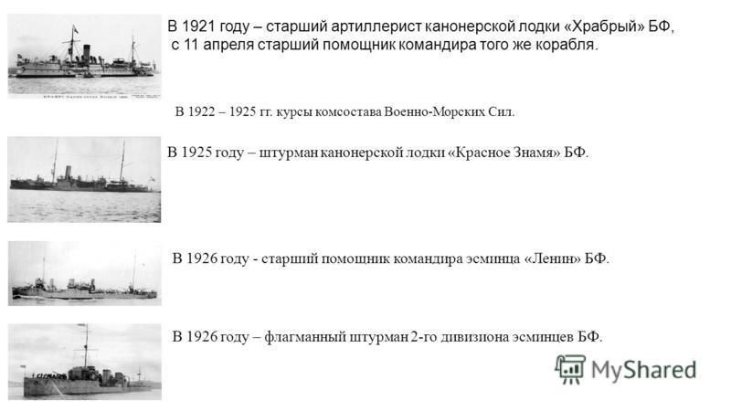В 1921 году – старший артиллерист канонерской лодки «Храбрый» БФ, с 11 апреля старший помощник командира того же корабля. В 1922 – 1925 гг. курсы комсостава Военно-Морских Сил. В 1925 году – штурман канонерской лодки «Красное Знамя» БФ. В 1926 году -