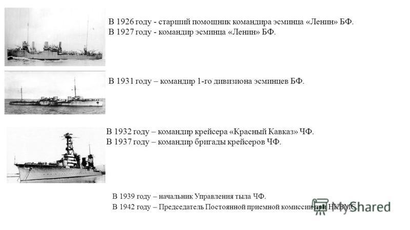 В 1926 году - старший помощник командира эсминца «Ленин» БФ. В 1927 году - командир эсминца «Ленин» БФ. В 1931 году – командир 1-го дивизиона эсминцев БФ. В 1932 году – командир крейсера «Красный Кавказ» ЧФ. В 1937 году – командир бригады крейсеров Ч