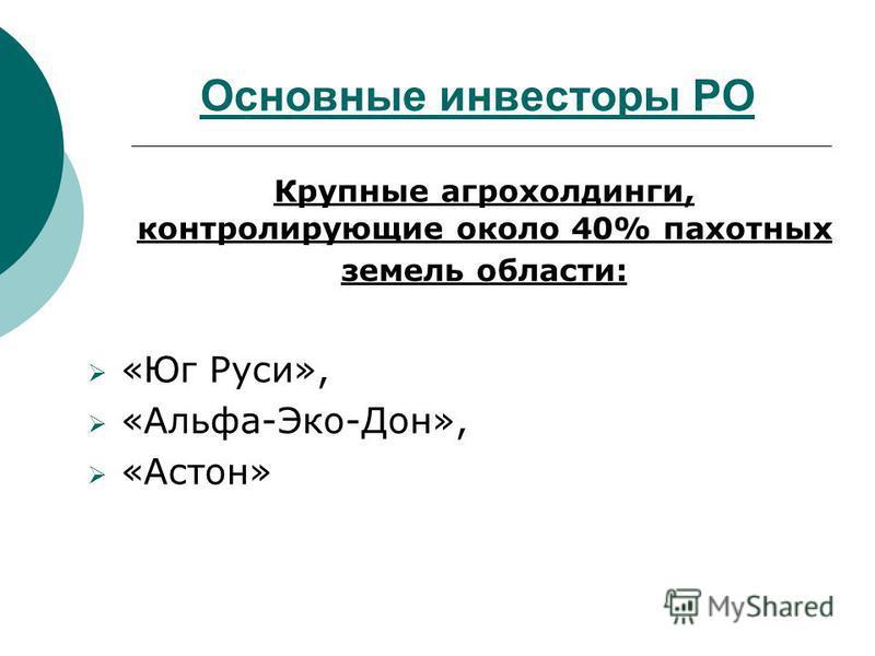 Основные инвесторы РО Крупные агрохолдинги, контролирующие около 40% пахотных земель области: «Юг Руси», «Альфа-Эко-Дон», «Астон»