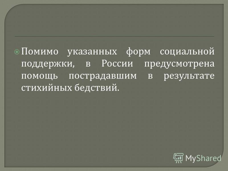 Помимо указанных форм социальной поддержки, в России предусмотрена помощь пострадавшим в результате стихийных бедствий.