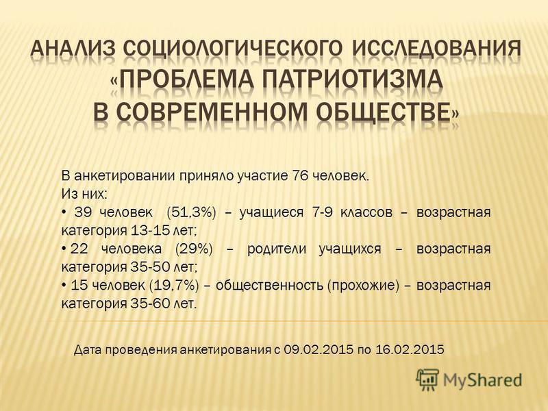 В анкетировании приняло участие 76 человек. Из них: 39 человек (51,3%) – учащиеся 7-9 классов – возрастная категория 13-15 лет; 22 человека (29%) – родители учащихся – возрастная категория 35-50 лет; 15 человек (19,7%) – общественность (прохожие) – в