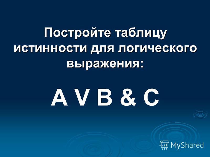 Постройте таблицу истинности для логического выражения: А V B & C