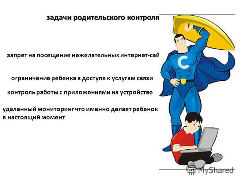 задачи родительского контроля: запрет на посещение нежелательных интернет-сайтов ограничение ребенка в доступе к услугам связи контроль работы с приложениями на устройстве удаленный мониторинг что именно делает ребенок в настоящий момент