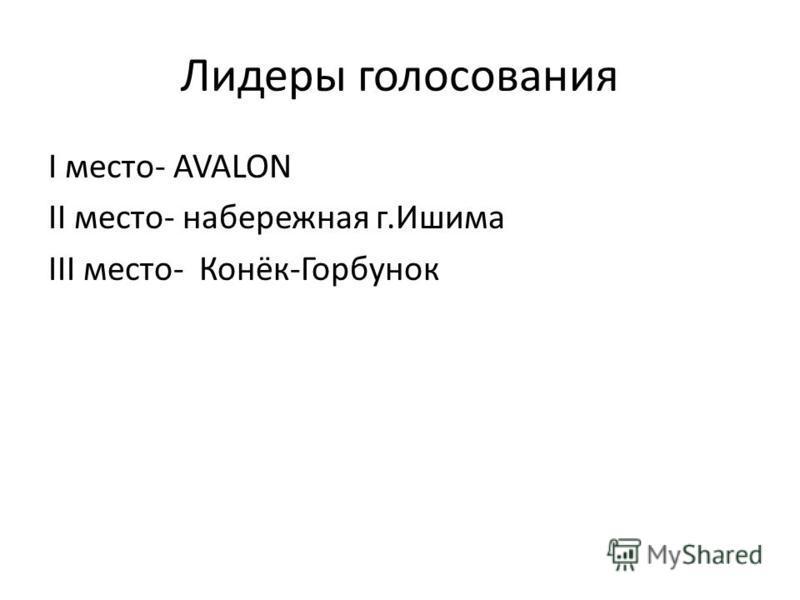 Лидеры голосования I место- AVALON II место- набережная г.Ишима III место- Конёк-Горбунок