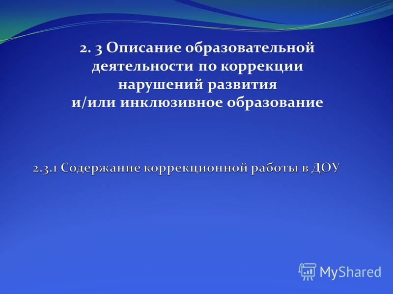 2. 3 Описание образовательной деятельности по коррекции нарушений развития и/или инклюзивное образование