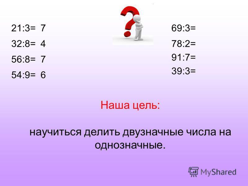 21:3= 32:8= 56:8= 54:9= 69:3= 78:2= 91:7= 39:3= 7 4 7 6 Наша цель: научиться делить двузначные числа на однозначные.